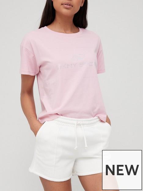 dkny-sport-rhinestone-logo-boxy-cropped-tee-pink