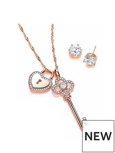 buckley-london-buckley-london-rose-gold-key-lock-pendant-earring-set
