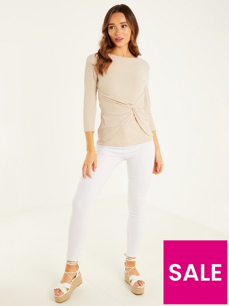quiz-ribbed-knot-front-three-quarter-sleeve-top-stone