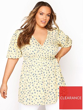 yours-limited-lemon-puff-wrap-blouse