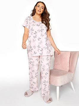Yours Yours Summer Butterfly Pj Set - Pink
