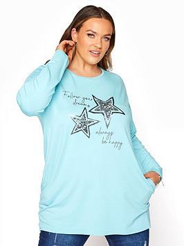 Yours Yours Sequin Slogan Pocket Front Sweatshirt - Blue, Blue, Size 16, Women