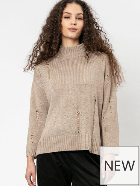 religion-distressed-knitted-jumper-beige