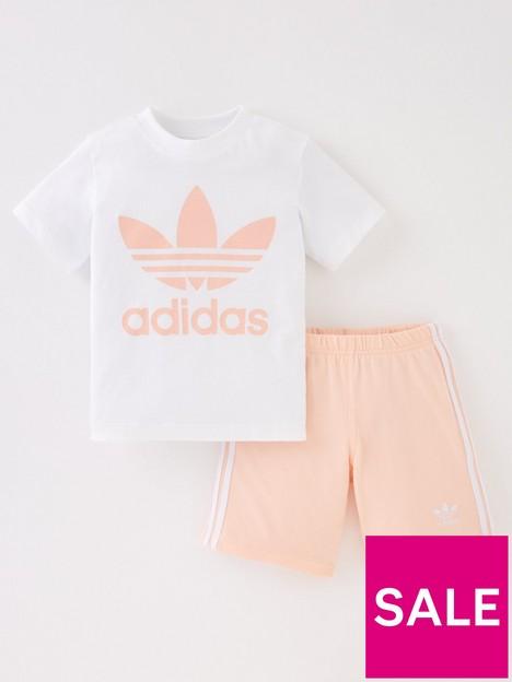 adidas-originals-infant-unisex-short-amp-tee-set-pinkwhite