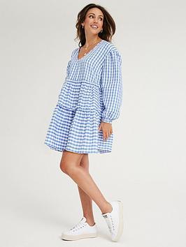 michelle-keegan-gingham-tiered-dress-blue