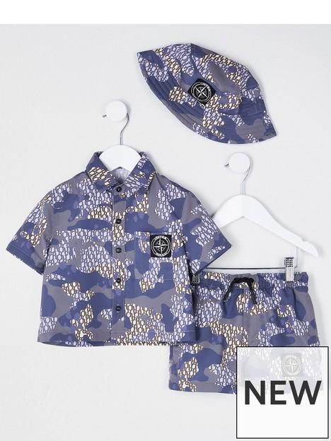 river-island-mini-mini-boys-camo-shirt-short-and-hat-set-blue