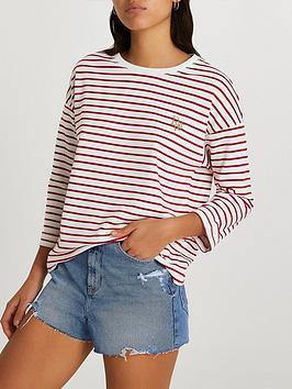 river-island-half-sleeve-stripe-top-red