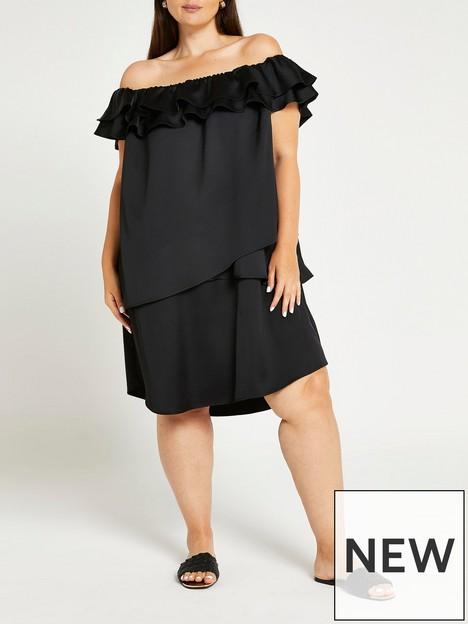 ri-plus-ri-plus-bardot-frill-asymetric-mini-dress-black