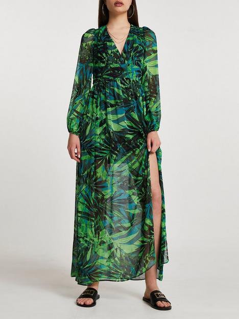 river-island-long-sleeve-tropical-maxi-dress-green