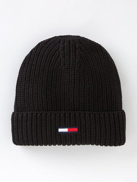 tommy-jeans-basic-rib-knitted-beanie-hat-black