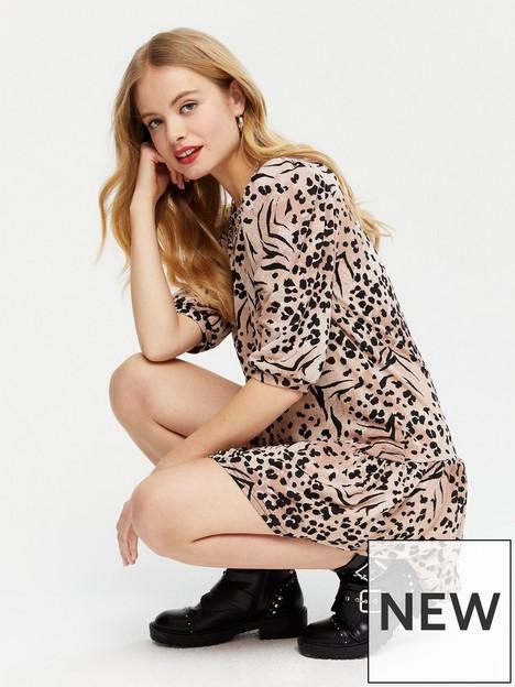 new-look-brown-animal-print-drop-hem-mini-dress