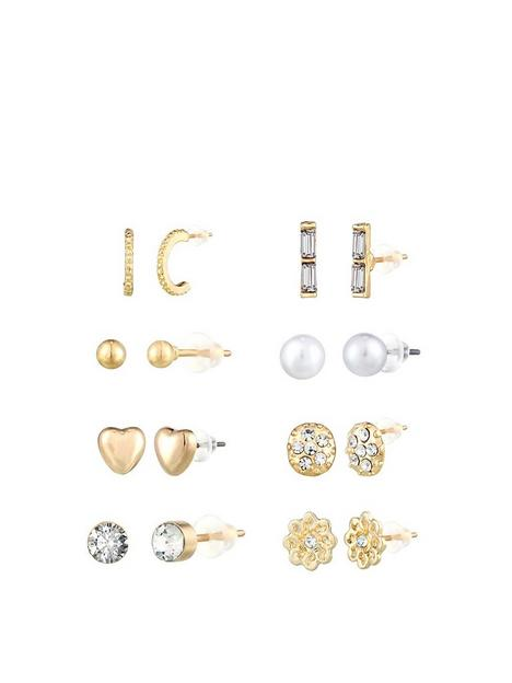 the-love-silver-collection-8pk-gold-plated-earrings
