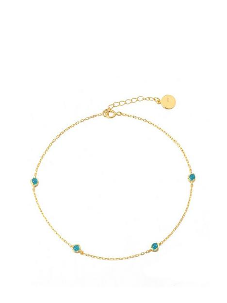 the-love-silver-collection-gold-plated-sterling-silver-turquoise-stone-anklet