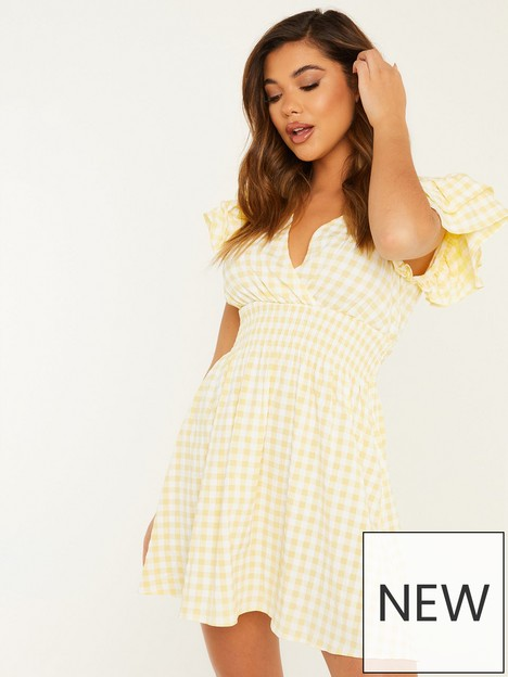 quiz-gingham-check-frill-sleeve-wrap-front-mini-dress-yellowwhite