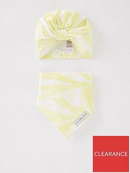 never-fully-dressed-baby-girls-sunshine-print-turban-amp-bib-set-yellow