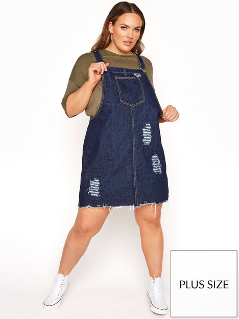 yours-yours-limited-collection-distressed-denim-pinafore-mid-wash-blue