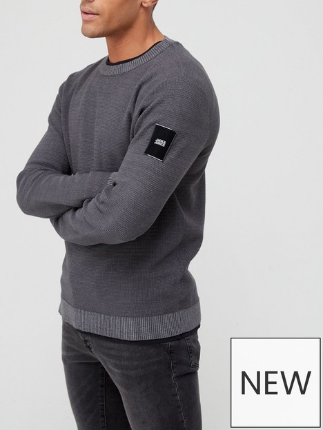 jack-jones-arm-patch-knitted-jumper-grey