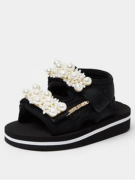 River Island Mini Mini Girls Pearl Sports Sandal-Black, Black, Size 3 Younger