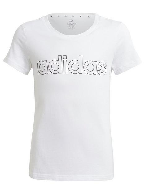 adidas-junior-girls-linear-t-shirt-whiteblack
