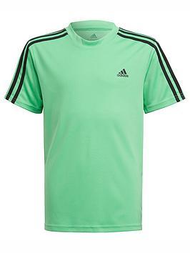 adidas-junior-boys-3-stripes-t-shirt-greenblack