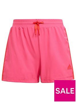 adidas-junior-girls-3-stripes-shorts-pinkred