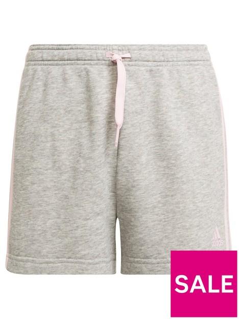 adidas-junior-girls-3-stripes-short-greypink