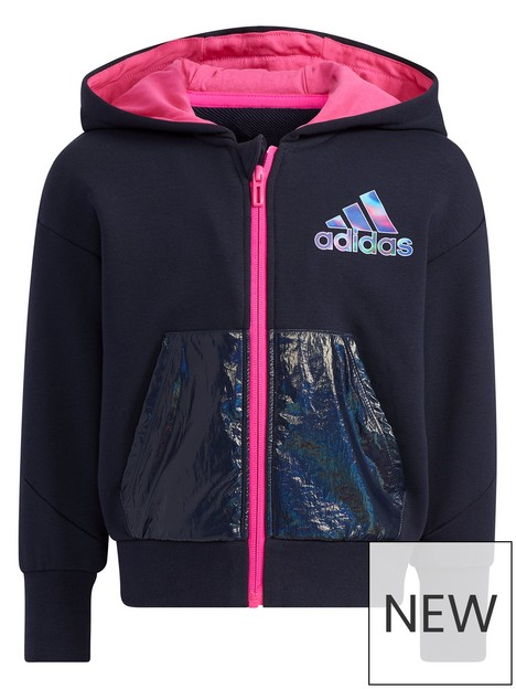 adidas-kids-girls-french-terry-knitnbspjacket-navy