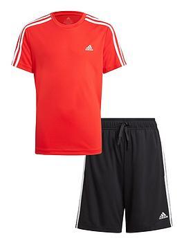 adidas-junior-boys-3-stripes-t-shirt-set-redblack
