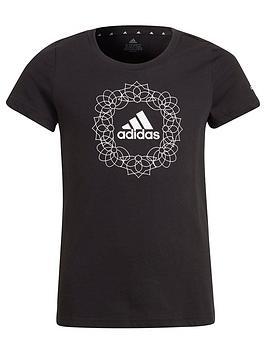adidas-junior-girls-gfxnbspt-shirt-blackwhite