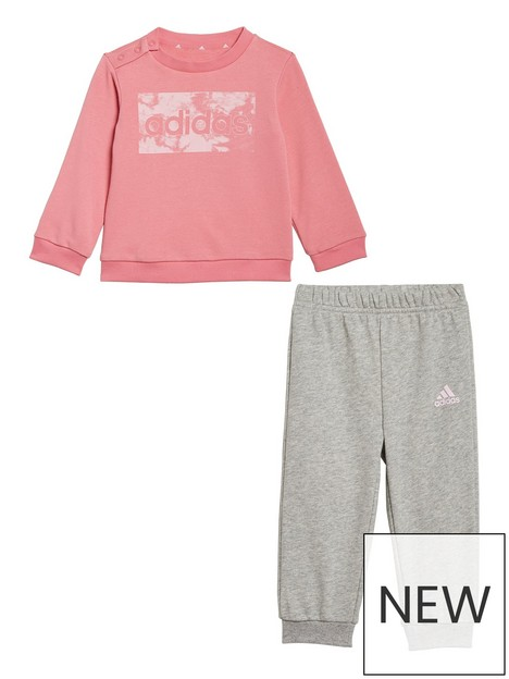 adidas-adidas-infant-girls-linear-logo-crew-jog-pant-set