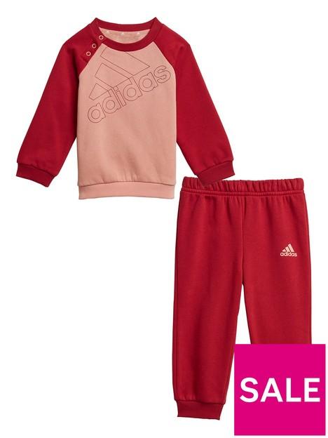 adidas-infants-outline-logo-crew-amp-jog-pant-set-pinkred