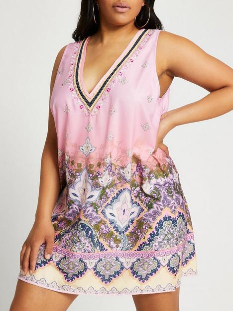 ri-plus-plus-paisley-tunic-beach-dress-pink
