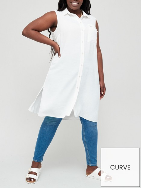 v-by-very-curve-sleeveless-long-line-blouse-white