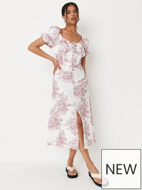missguided-missguided-milkmaid-button-front-midi-dress-floral-pink