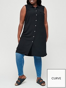 v-by-very-curve-sleeveless-long-line-blouse-black