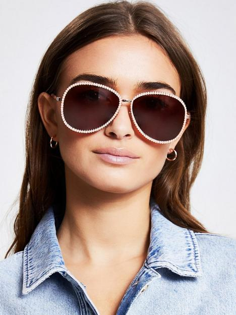 river-island-pearl-frame-pink-lens-aviator-sunglasses-gold