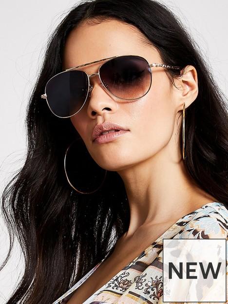 river-island-twisted-brow-bar-aviator-sunglasses-gold