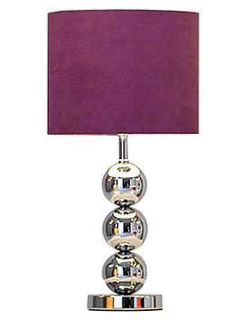 Ingrid Faux Suede 3-Ball Table Lamp – Plum
