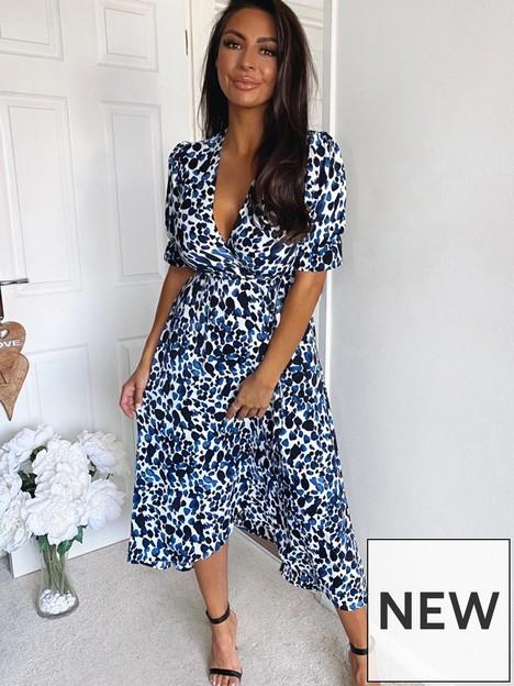 ax-paris-animal-printed-wrap-dress-blue