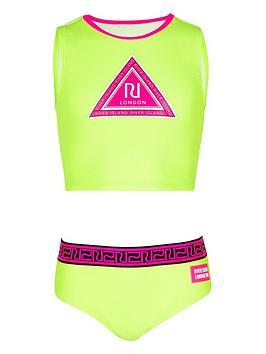 River Island Girls Ri Crop Bikini Set-Yellow, Lime, Size 5-6 Years, Women