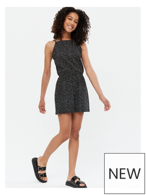 new-look-915-jersey-spot-high-neck-strappy-playsuit-black