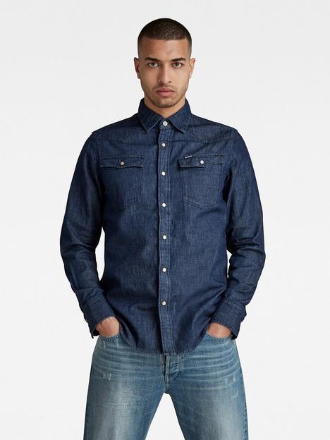 g-star-raw-3301-slim-fit-rinsed-wash-denim-shirt-indigo
