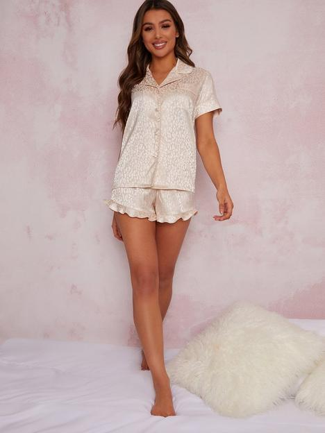 chi-chi-london-chi-chi-textured-satin-animal-print-pyjama-short-set-in-champagne