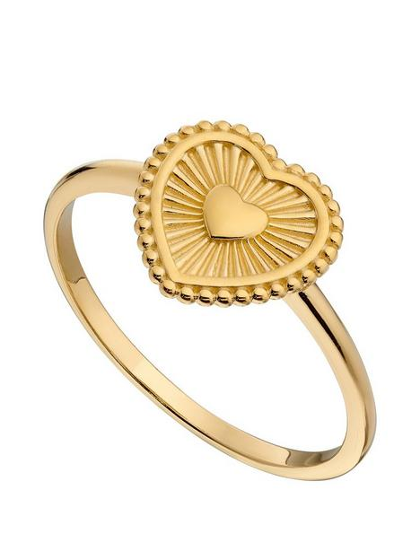 the-love-silver-collection-gold-plated-sterling-silver-heart-signet-ring