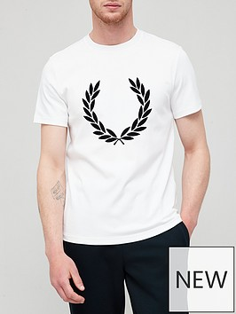 fred-perry-flock-laurel-wreath-t-shirt-white