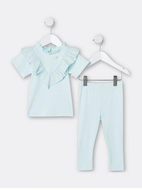 river-island-mini-mini-girls-poplin-tshirt-and-legging-set-mint