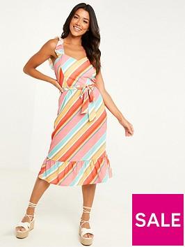 quiz-stripe-frill-sleeve-midi-dress-multi