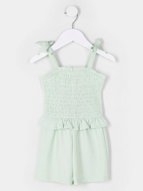 river-island-mini-mini-girls-shirred-playsuit-mint