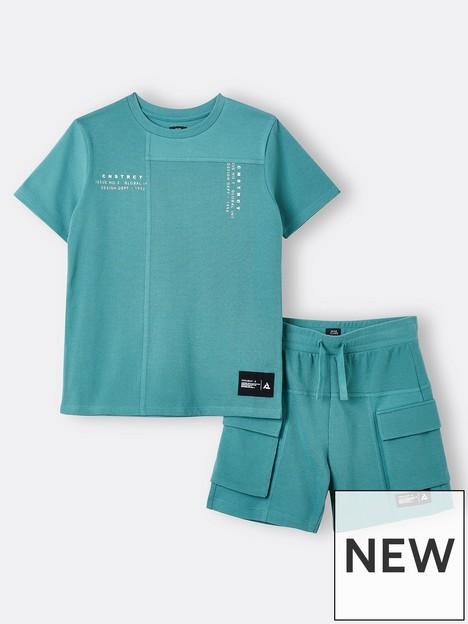 river-island-boys-jersey-cargo-short-and-tshirt-set-green