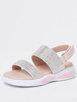 River Island Mini Mini Girls Diamante Bubble Sandal-Pink, Pink, Size 3 Younger